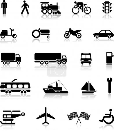 Photo pour Collection vectorielle de silhouettes de transport - image libre de droit