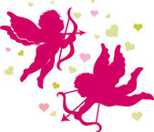 Silhouettes of Cupids for Valentines day