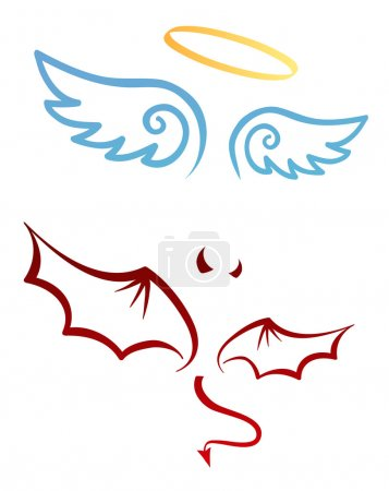 Cute icons of wings of angel and demon...