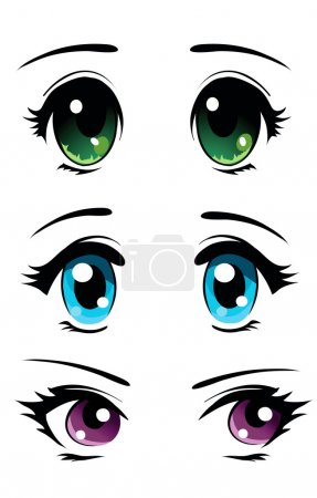 Illustration for Set of eyes in manga and anime style - Royalty Free Image