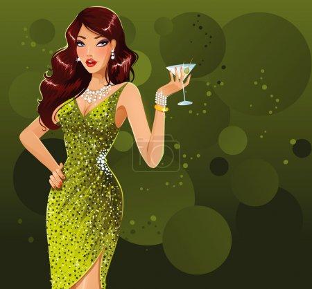 Illustration pour Belle femme sexy en robe verte debout avec verre de martini - image libre de droit