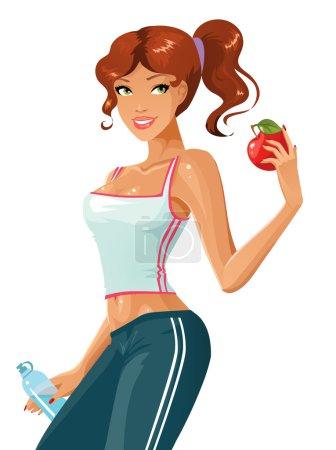 Illustration pour Fille attrayante et sportive avec de l'eau et de la pomme - image libre de droit