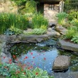 A water garden with a small stone building, surrounded by summer flowers