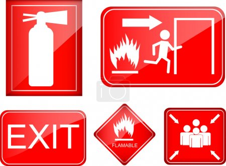Illustration for Set of red shiny fire accident sign - Royalty Free Image