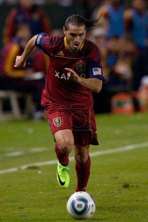 Photo pour Carson, Californie. - NOV 6. L'attaquant de Real Salt Lake Fabian Espindola N7 en action lors de la finale de la Ligue majeure de football entre Real Salt Lake et la galaxie de Los Angeles . - image libre de droit