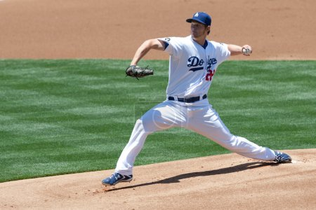 Clayton Kershaw pitches during the game