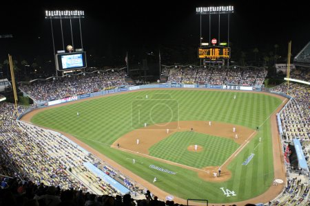 A view of Dodger Stadium during the Angels vs. Dodgers match