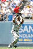Erick Aybar gets under a fly ball during the game