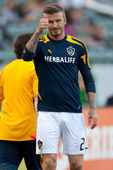 David Beckham warms up before the MLS game