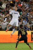 Cristiano Ronaldo heads the ball during the World Football Challenge game