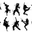 Collection dancing silhouettes in grunge style....