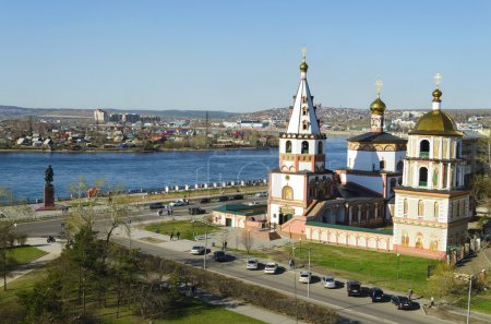 Epiphany church and Angara river in the city of Irkutsk