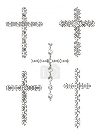 Set of religious cross designs.