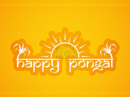 Beautiful text design of Happy Pongal. Pongal is a famous south Indian religious harvest festival and it marks the beginning of the northward journey of the Sun from its southernmost limit.