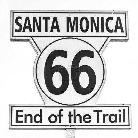 Route 66 sign, End of the trail in Santa Monica, Los Angeles