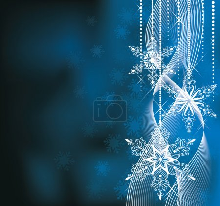Illustration for Christmas backround in blue colors with snowflakes. - Royalty Free Image