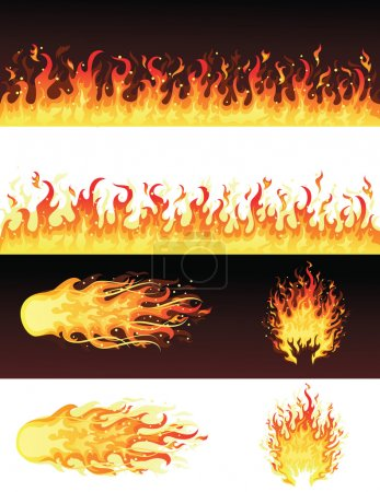 Illustration for Fires on the black and on the white background. - Royalty Free Image