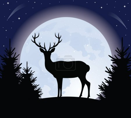 Illustration pour Silhouette d'un cerf debout sur une colline. Pleine lune sur le fond . - image libre de droit