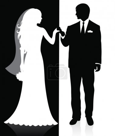 Black and white silhouettes of a groom and a bride holding hands and standing under an arch.