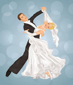 Married couple is ballroom dancing on the blue background