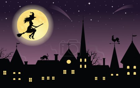 Silhouette of a witch on a broom flying over a town. Full moon and stars on the background.