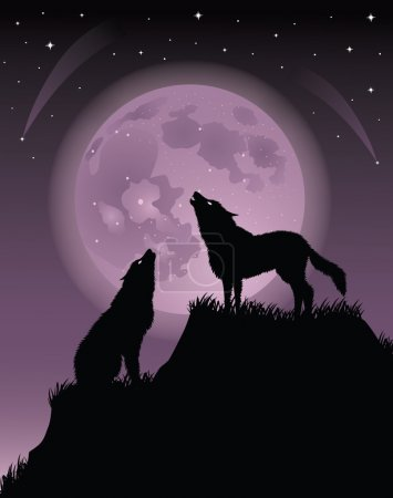 Two wolfs standing on a hill and howling at a full moon.