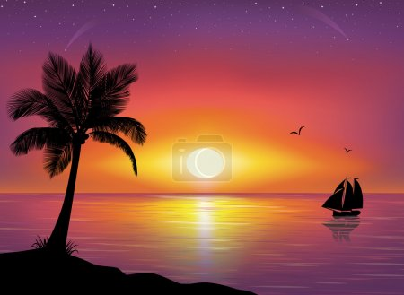 Illustration for Silhouette of a ship at the sea and silhouette of palm tree in the foreground. Beautiful Sunset and stars at the seaside in the background. - Royalty Free Image