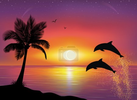 Illustration for Silhouette of two dolphins jumping out of water in the ocean and silhouette of palm tree in the foreground. Beautiful Sunset and stars at the seaside in the background. - Royalty Free Image