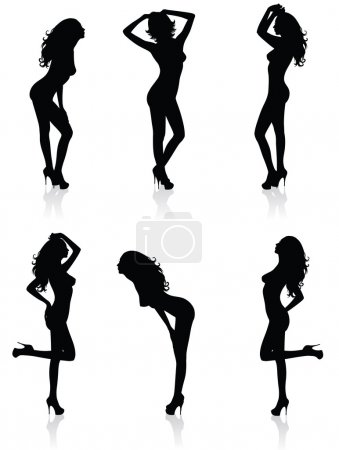 Collections of Vector silhouettes of a standing woman.