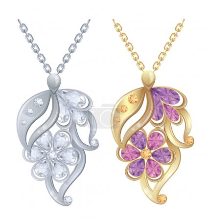 Illustration - Isolated pendants with diamonds in silver and gold.