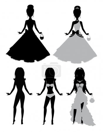 Set of a silhouettes of a girls.