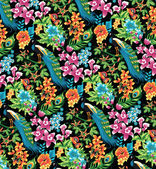 Seamless tropical pattern with peacocks and flowers