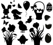 Set of silhouettes for Easter