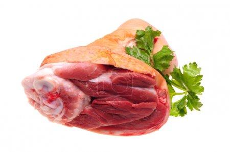 Raw pork (leg) isolated on white background...