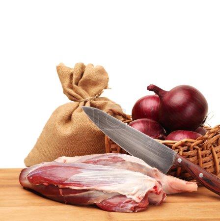 Raw beef of leg