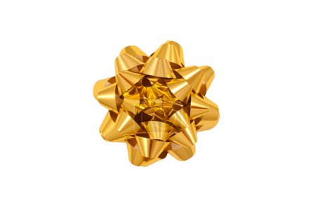 Color image of a gold gift wrap bow