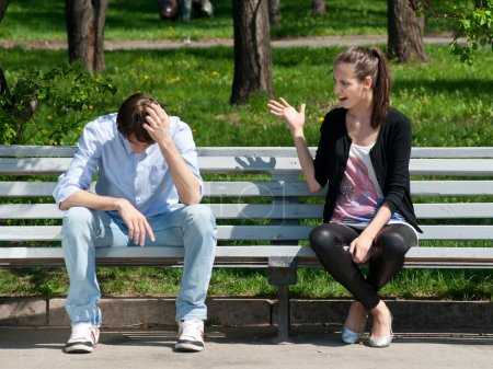 Young couple in quarrel