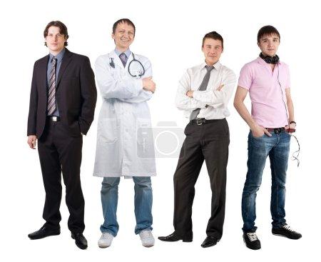 Photo pour Quatre hommes de professions différentes, homme d'affaires, médecin et dj. Isolé sur fond blanc - image libre de droit