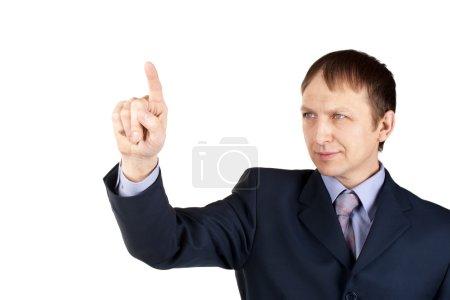 homme d'affaires, en pressant une touche imaginaire