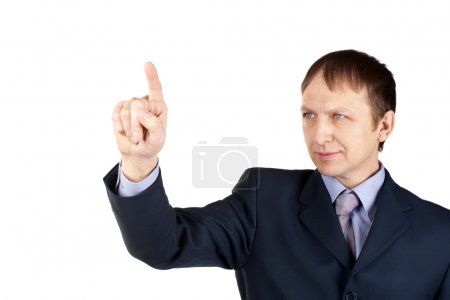 Businessman pushing an imaginary button