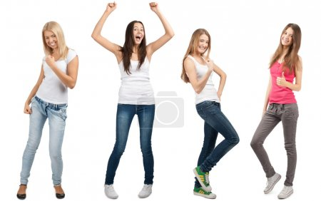 Collage of four happy excited young women