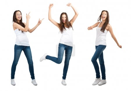 Collage of happy excited young woman