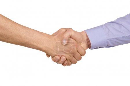 Photo pour Serrer la main des deux hommes d'affaires, isolé sur blanc - image libre de droit