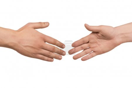 Photo for Two male hands about to shake hands, over white background - Royalty Free Image