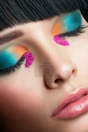 Closeup of bright fashion makeup
