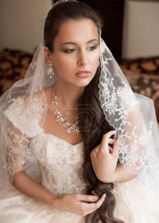 Photo for Beautiful bride in elegant wedding dress and lace veil - Royalty Free Image