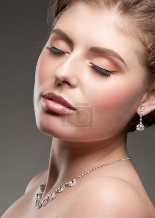Photo for Portrait of lovely woman with beautiful makeup and diamond necklace - Royalty Free Image