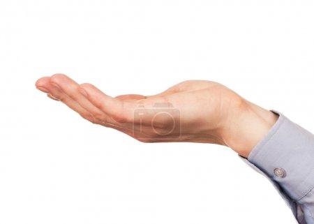 Photo pour Poignée ouverte geste de la main du mâle. Isolé sur fond blanc . - image libre de droit