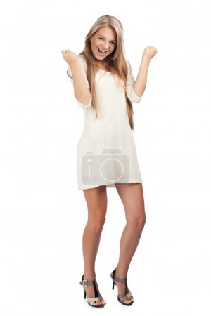 Happy excited woman with raised arms