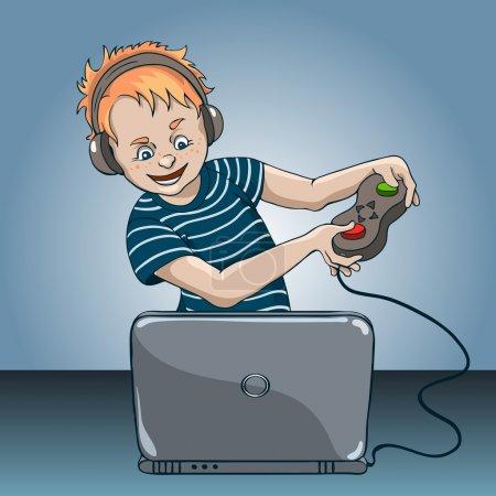 Illustration pour Garçon avec enthousiasme jouer à un jeu d'ordinateur sur ordinateur portable - image libre de droit